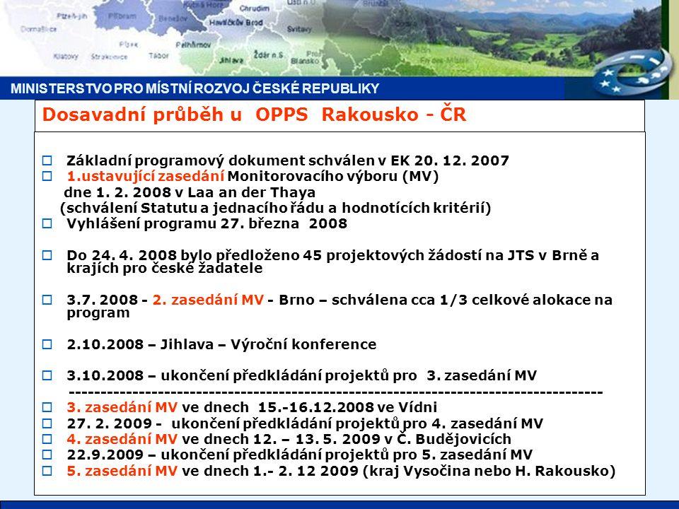MINISTERSTVO PRO MÍSTNÍ ROZVOJ ČESKÉ REPUBLIKY Dosavadní průběh u OPPS Rakousko - ČR  Základní programový dokument schválen v EK 20.