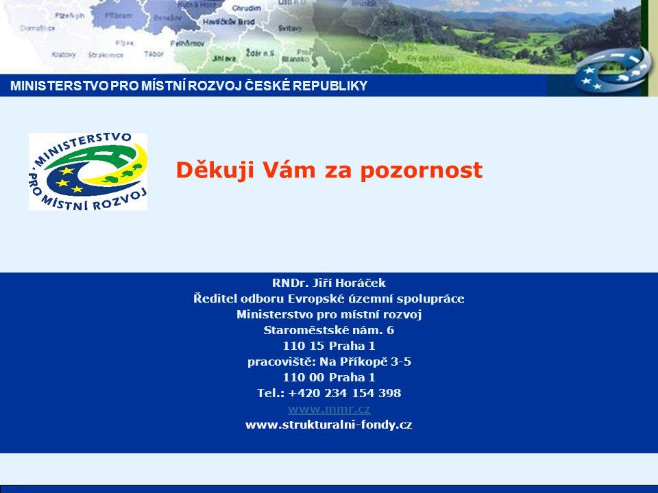MINISTERSTVO PRO MÍSTNÍ ROZVOJ ČESKÉ REPUBLIKY Děkuji Vám za pozornost RNDr.