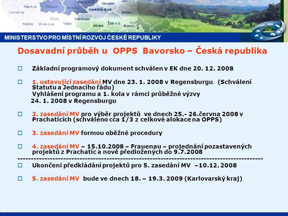 MINISTERSTVO PRO MÍSTNÍ ROZVOJ ČESKÉ REPUBLIKY Dosavadní průběh u OPPS Bavorsko – Česká republika  Základní programový dokument schválen v EK dne 20.