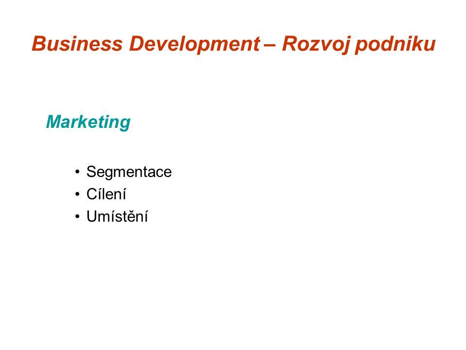 Business Development – Rozvoj podniku Marketing Segmentace Cílení Umístění