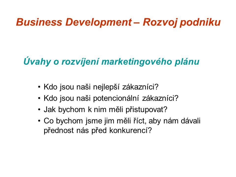 Business Development – Rozvoj podniku Úvahy o rozvíjení marketingového plánu Kdo jsou naši nejlepší zákazníci.