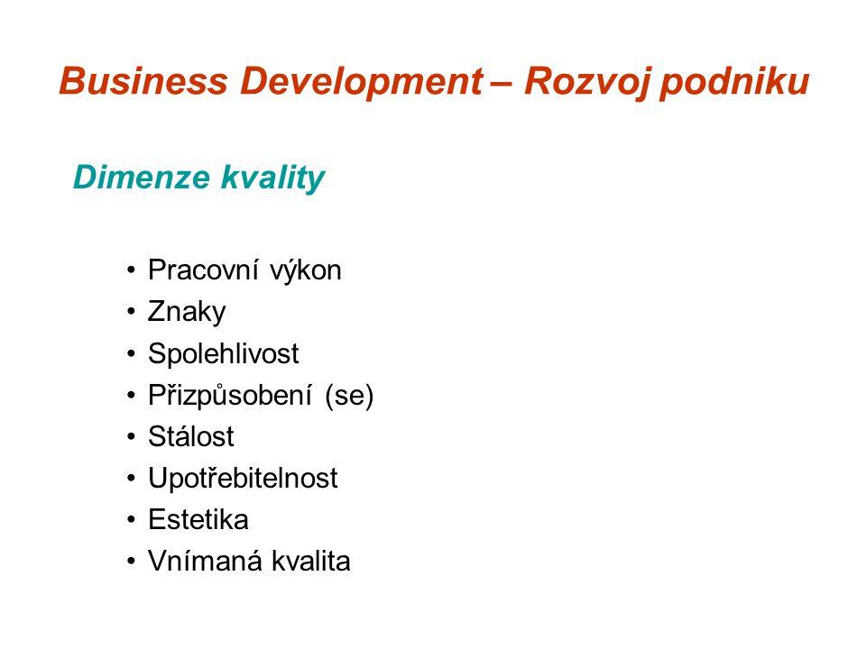 Business Development – Rozvoj podniku Dimenze kvality Pracovní výkon Znaky Spolehlivost Přizpůsobení (se) Stálost Upotřebitelnost Estetika Vnímaná kvalita