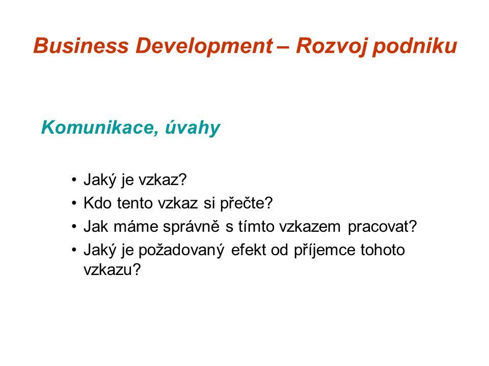 Business Development – Rozvoj podniku Komunikace, úvahy Jaký je vzkaz.