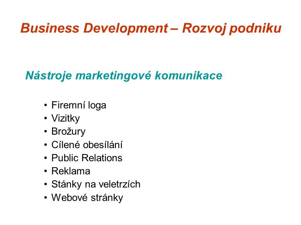 Business Development – Rozvoj podniku Nástroje marketingové komunikace Firemní loga Vizitky Brožury Cílené obesílání Public Relations Reklama Stánky na veletrzích Webové stránky