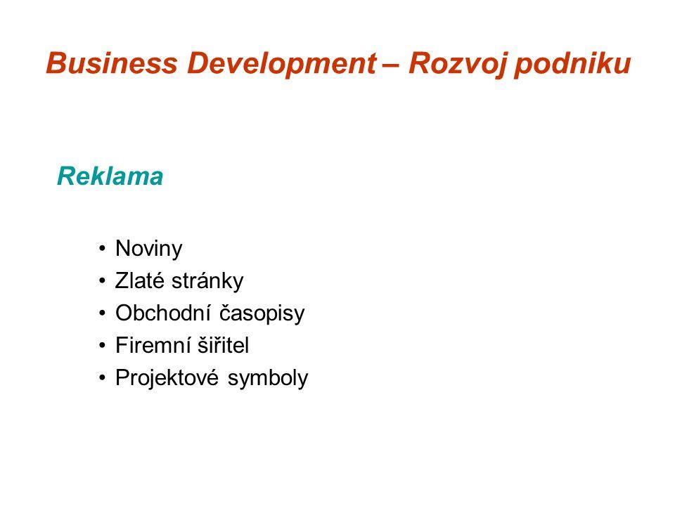 Business Development – Rozvoj podniku Reklama Noviny Zlaté stránky Obchodní časopisy Firemní šiřitel Projektové symboly