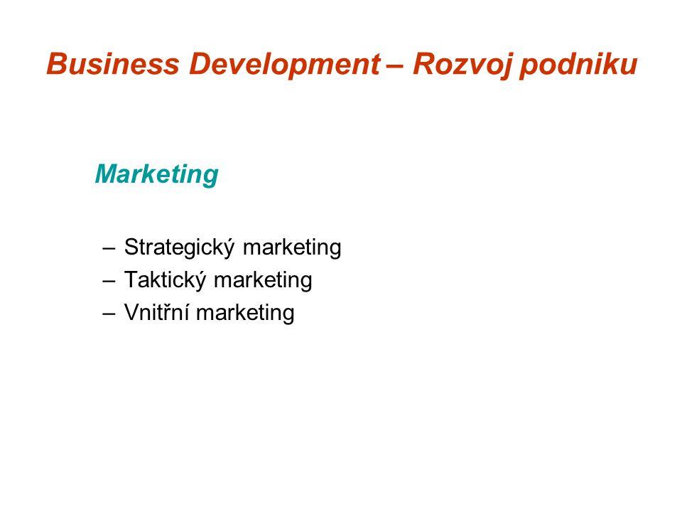 Business Development – Rozvoj podniku Marketing –Strategický marketing –Taktický marketing –Vnitřní marketing