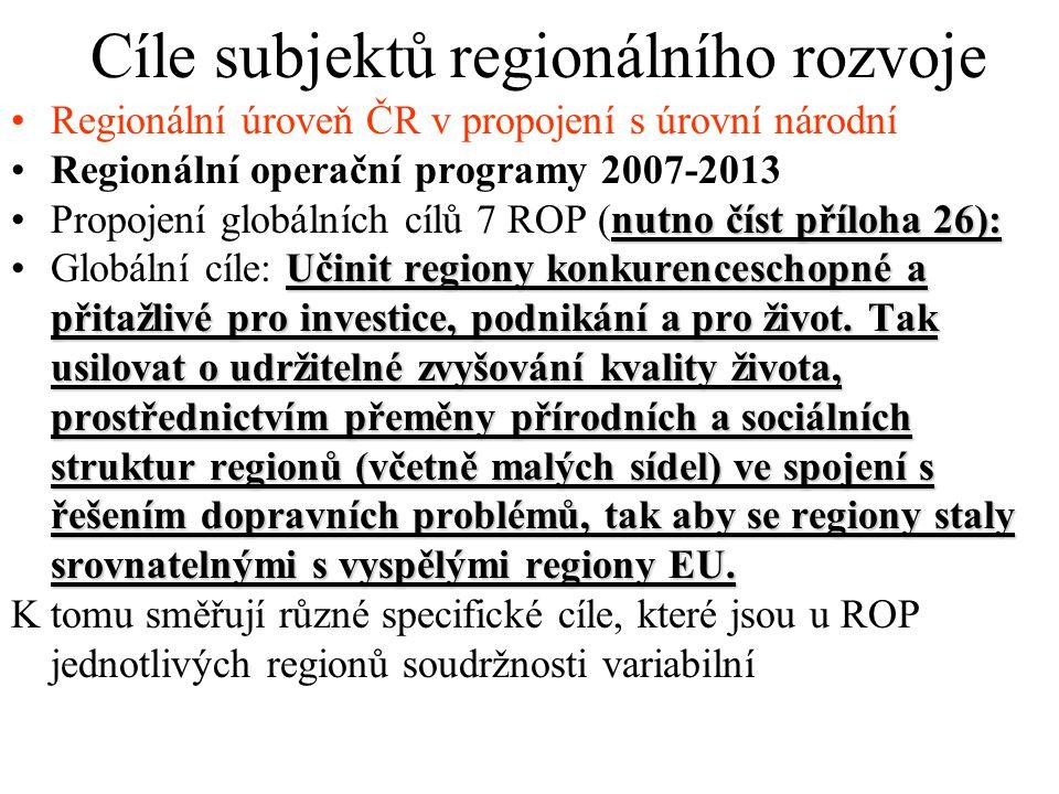 Cíle subjektů regionálního rozvoje Regionální úroveň ČR v propojení s úrovní národní Regionální operační programy 2007-2013 nutno číst příloha 26):Propojení globálních cílů 7 ROP (nutno číst příloha 26): Učinit regiony konkurenceschopné a přitažlivé pro investice, podnikání a pro život.