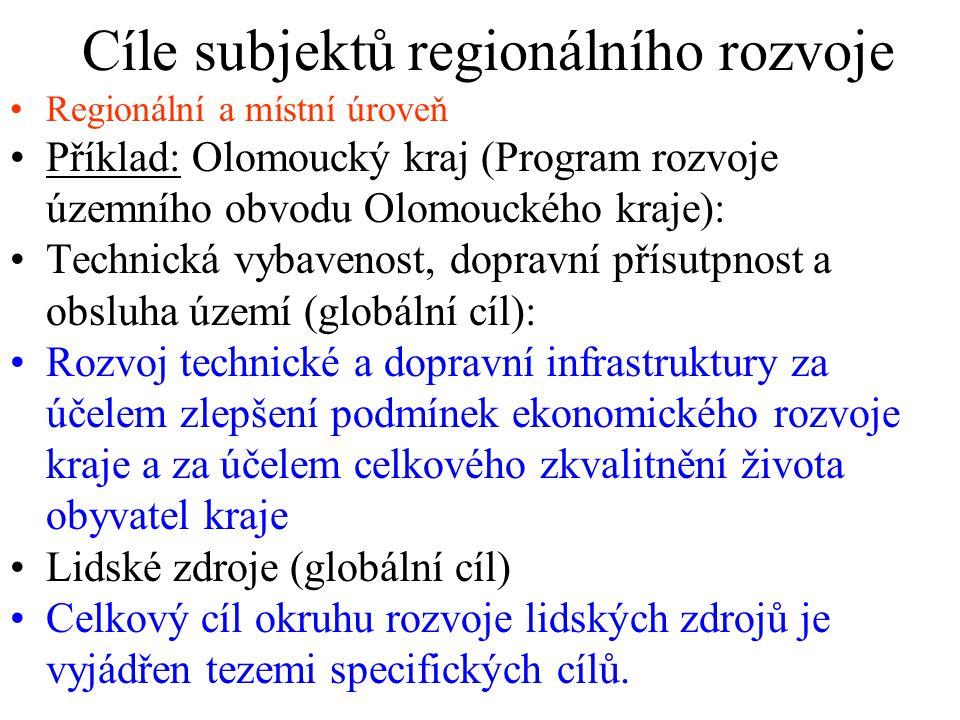 Cíle subjektů regionálního rozvoje Regionální a místní úroveň Příklad: Olomoucký kraj (Program rozvoje územního obvodu Olomouckého kraje): Technická vybavenost, dopravní přísutpnost a obsluha území (globální cíl): Rozvoj technické a dopravní infrastruktury za účelem zlepšení podmínek ekonomického rozvoje kraje a za účelem celkového zkvalitnění života obyvatel kraje Lidské zdroje (globální cíl) Celkový cíl okruhu rozvoje lidských zdrojů je vyjádřen tezemi specifických cílů.