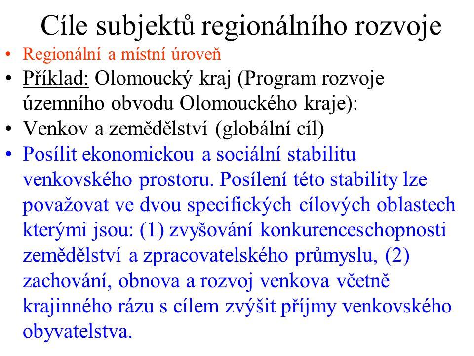 Cíle subjektů regionálního rozvoje Regionální a místní úroveň Příklad: Olomoucký kraj (Program rozvoje územního obvodu Olomouckého kraje): Venkov a zemědělství (globální cíl) Posílit ekonomickou a sociální stabilitu venkovského prostoru.