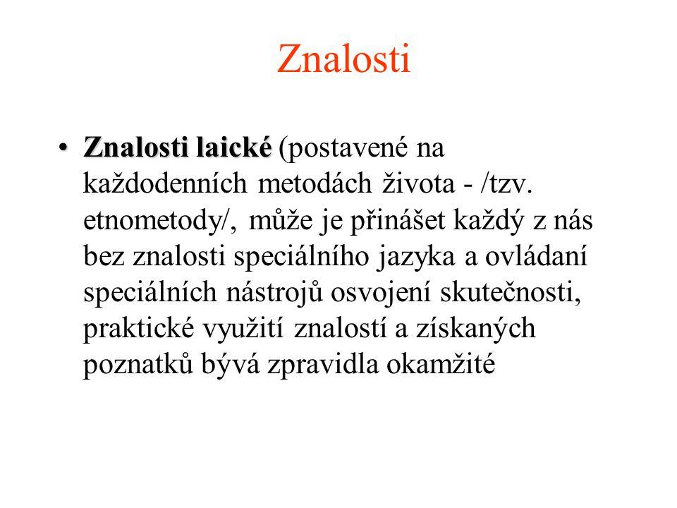 Znalosti Znalosti laickéZnalosti laické (postavené na každodenních metodách života - /tzv.