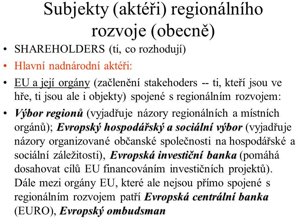 Subjekty (aktéři) regionálního rozvoje (obecně) SHAREHOLDERS (ti, co rozhodují) Hlavní nadnárodní aktéři: EU a její orgány (začlenění stakehoders -- ti, kteří jsou ve hře, ti jsou ale i objekty) spojené s regionálním rozvojem: Výbor regionů Evropský hospodářský a sociální výbor Evropská investiční banka Evropská centrální banka Evropský ombudsmanVýbor regionů (vyjadřuje názory regionálních a místních orgánů); Evropský hospodářský a sociální výbor (vyjadřuje názory organizované občanské společnosti na hospodářské a sociální záležitosti), Evropská investiční banka (pomáhá dosahovat cílů EU financováním investičních projektů).