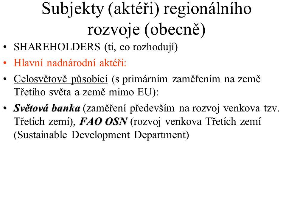 Subjekty (aktéři) regionálního rozvoje (obecně) SHAREHOLDERS (ti, co rozhodují) Hlavní nadnárodní aktéři: Celosvětově působící (s primárním zaměřením na země Třetího světa a země mimo EU): Světová banka FAO OSNSvětová banka (zaměření především na rozvoj venkova tzv.