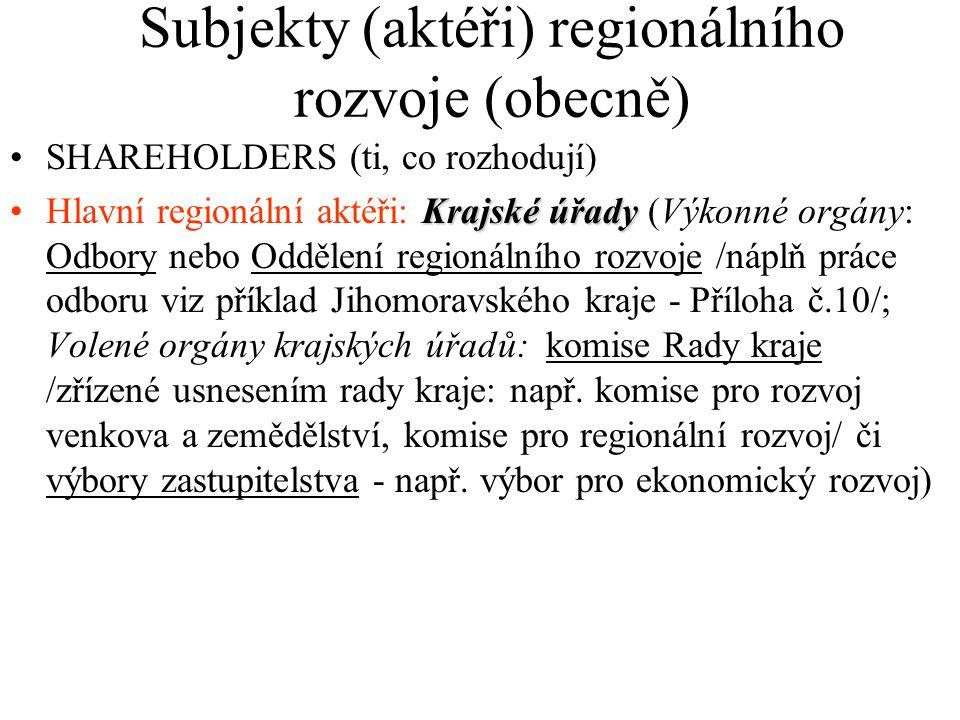 Subjekty (aktéři) regionálního rozvoje (obecně) SHAREHOLDERS (ti, co rozhodují) Krajské úřadyHlavní regionální aktéři: Krajské úřady (Výkonné orgány: Odbory nebo Oddělení regionálního rozvoje /náplň práce odboru viz příklad Jihomoravského kraje - Příloha č.10/; Volené orgány krajských úřadů: komise Rady kraje /zřízené usnesením rady kraje: např.
