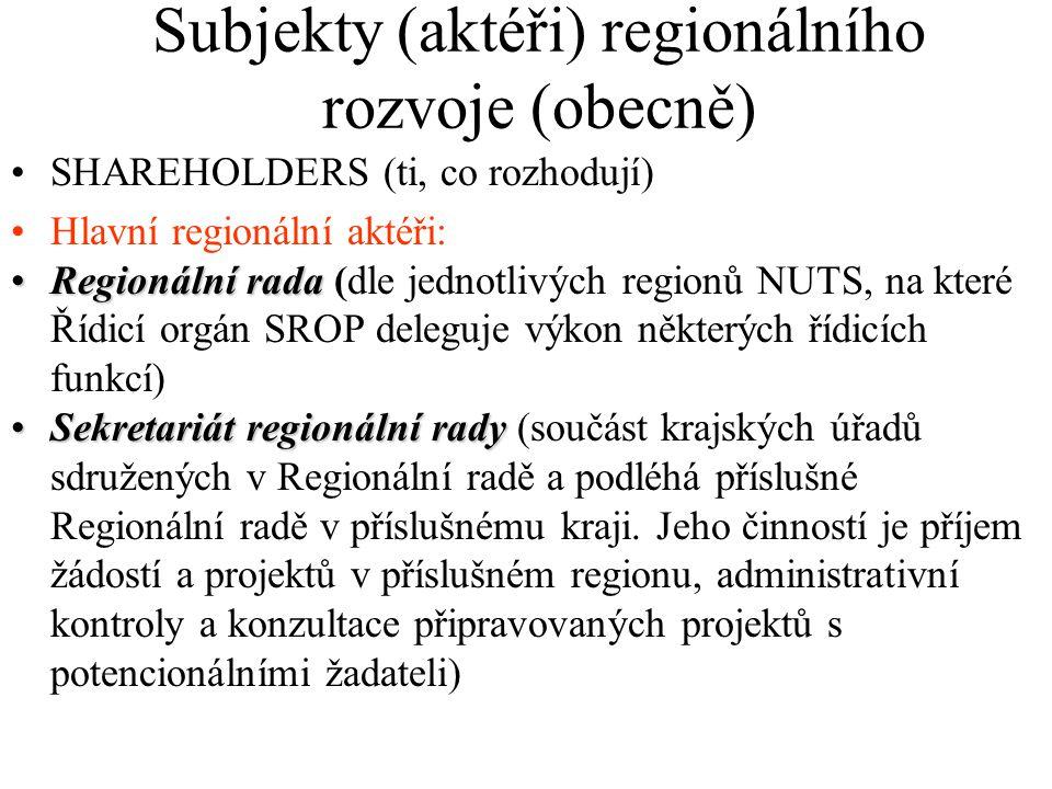 Subjekty (aktéři) regionálního rozvoje (obecně) SHAREHOLDERS (ti, co rozhodují) Hlavní regionální aktéři: Výbor regionálního rozvojeVýbor regionálního rozvoje Výbory regionálního rozvoje - v rámci příslušného regionu soudržnosti - sledují realizaci SROP a předkládají monitorovacímu výboru, resp.
