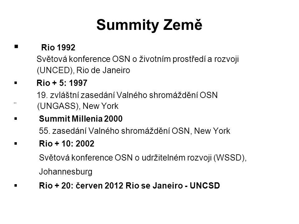 Summity Země  Rio 1992 Světová konference OSN o životním prostředí a rozvoji (UNCED), Rio de Janeiro  Rio + 5: 1997 19.