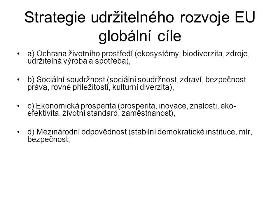 Strategie udržitelného rozvoje EU globální cíle a) Ochrana životního prostředí (ekosystémy, biodiverzita, zdroje, udržitelná výroba a spotřeba), b) Sociální soudržnost (sociální soudržnost, zdraví, bezpečnost, práva, rovné příležitosti, kulturní diverzita), c) Ekonomická prosperita (prosperita, inovace, znalosti, eko- efektivita, životní standard, zaměstnanost), d) Mezinárodní odpovědnost (stabilní demokratické instituce, mír, bezpečnost,