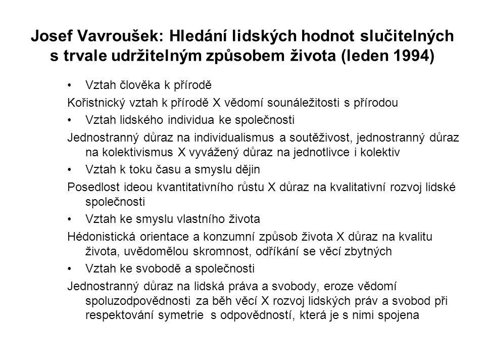 Josef Vavroušek: Hledání lidských hodnot slučitelných s trvale udržitelným způsobem života (leden 1994) Vztah člověka k přírodě Kořistnický vztah k přírodě X vědomí sounáležitosti s přírodou Vztah lidského individua ke společnosti Jednostranný důraz na individualismus a soutěživost, jednostranný důraz na kolektivismus X vyvážený důraz na jednotlivce i kolektiv Vztah k toku času a smyslu dějin Posedlost ideou kvantitativního růstu X důraz na kvalitativní rozvoj lidské společnosti Vztah ke smyslu vlastního života Hédonistická orientace a konzumní způsob života X důraz na kvalitu života, uvědomělou skromnost, odříkání se věcí zbytných Vztah ke svobodě a společnosti Jednostranný důraz na lidská práva a svobody, eroze vědomí spoluzodpovědnosti za běh věcí X rozvoj lidských práv a svobod při respektování symetrie s odpovědností, která je s nimi spojena
