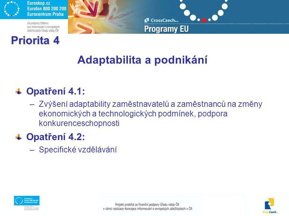 Priorita 4 Adaptabilita a podnikání Opatření 4.1: –Zvýšení adaptability zaměstnavatelů a zaměstnanců na změny ekonomických a technologických podmínek, podpora konkurenceschopnosti Opatření 4.2: –Specifické vzdělávání