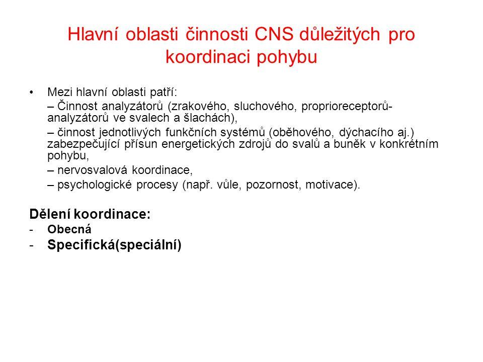 Hlavní oblasti činnosti CNS důležitých pro koordinaci pohybu Mezi hlavní oblasti patří: – Činnost analyzátorů (zrakového, sluchového, proprioreceptorů