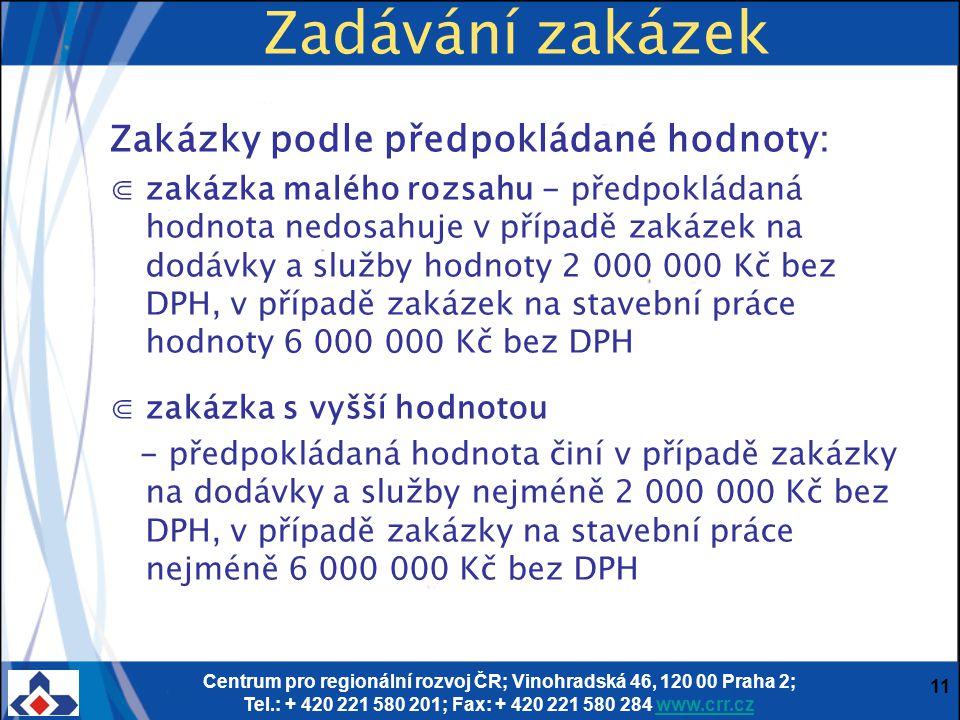 Centrum pro regionální rozvoj ČR; Vinohradská 46, 120 00 Praha 2; Tel.: + 420 221 580 201; Fax: + 420 221 580 284 www.crr.czwww.crr.cz 11 Zadávání zak