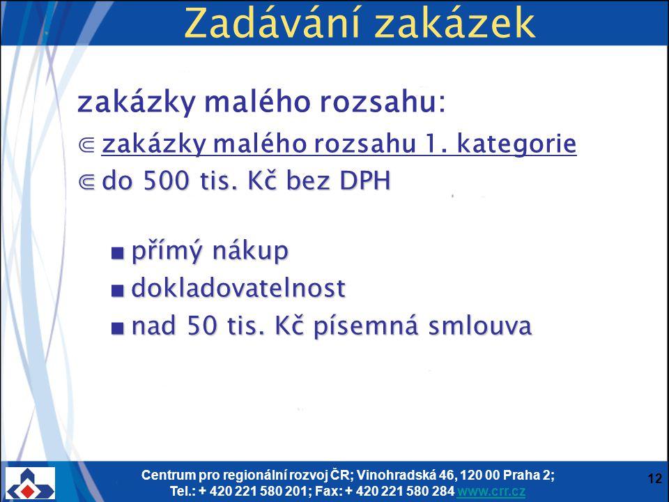 Centrum pro regionální rozvoj ČR; Vinohradská 46, 120 00 Praha 2; Tel.: + 420 221 580 201; Fax: + 420 221 580 284 www.crr.czwww.crr.cz 12 Zadávání zakázek zakázky malého rozsahu: ⋐zakázky malého rozsahu 1.