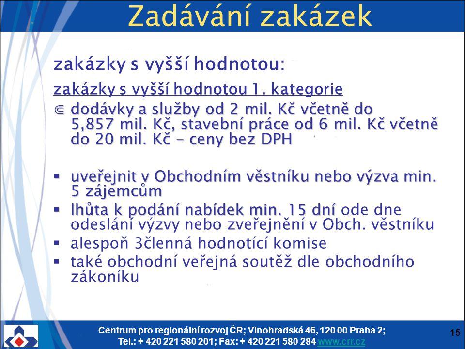 Centrum pro regionální rozvoj ČR; Vinohradská 46, 120 00 Praha 2; Tel.: + 420 221 580 201; Fax: + 420 221 580 284 www.crr.czwww.crr.cz 15 Zadávání zakázek zakázky s vyšší hodnotou: zakázky s vyšší hodnotou 1.