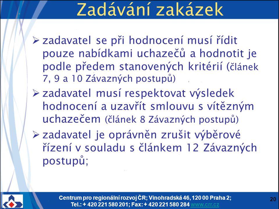 Centrum pro regionální rozvoj ČR; Vinohradská 46, 120 00 Praha 2; Tel.: + 420 221 580 201; Fax: + 420 221 580 284 www.crr.czwww.crr.cz 20 Zadávání zak