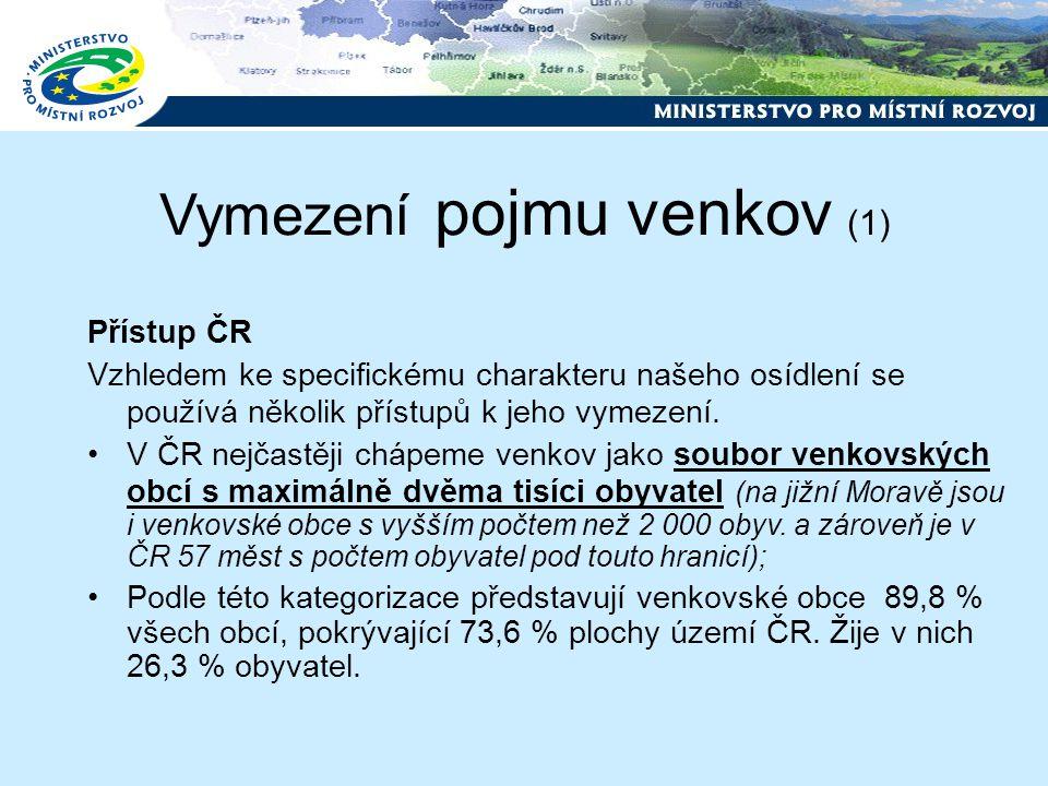 Vymezení pojmu venkov (1) Přístup ČR Vzhledem ke specifickému charakteru našeho osídlení se používá několik přístupů k jeho vymezení.