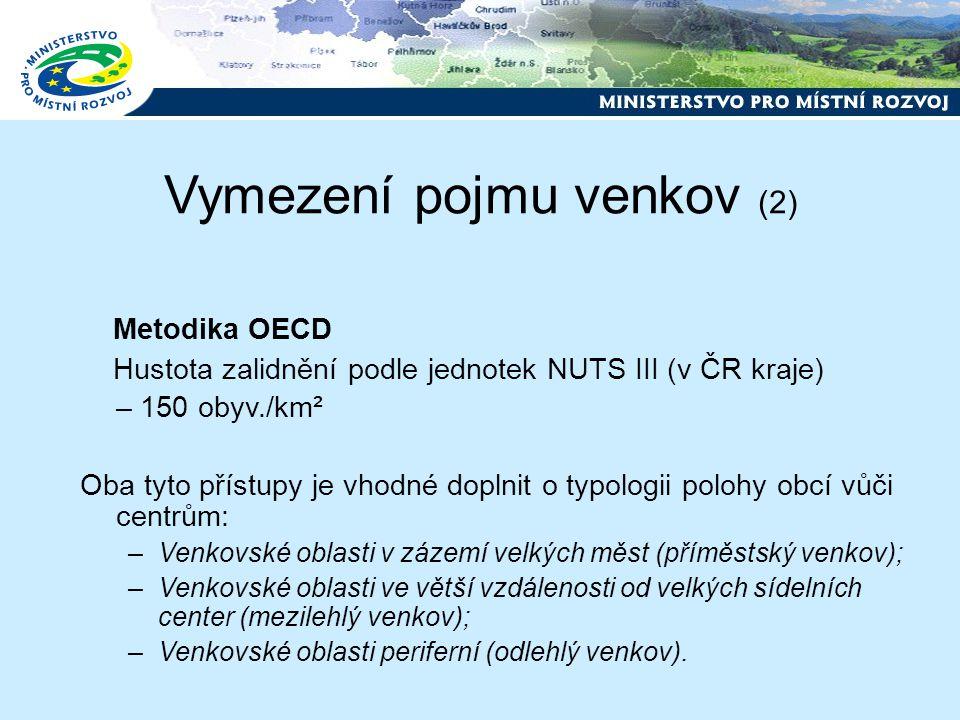 Vymezení pojmu venkov (2) Metodika OECD Hustota zalidnění podle jednotek NUTS III (v ČR kraje) – 150 obyv./km² Oba tyto přístupy je vhodné doplnit o typologii polohy obcí vůči centrům: –Venkovské oblasti v zázemí velkých měst (příměstský venkov); –Venkovské oblasti ve větší vzdálenosti od velkých sídelních center (mezilehlý venkov); –Venkovské oblasti periferní (odlehlý venkov).