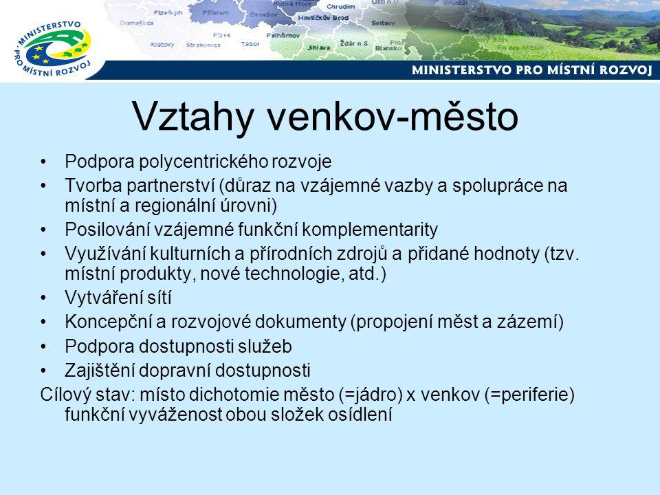Vztahy venkov-město Podpora polycentrického rozvoje Tvorba partnerství (důraz na vzájemné vazby a spolupráce na místní a regionální úrovni) Posilování vzájemné funkční komplementarity Využívání kulturních a přírodních zdrojů a přidané hodnoty (tzv.