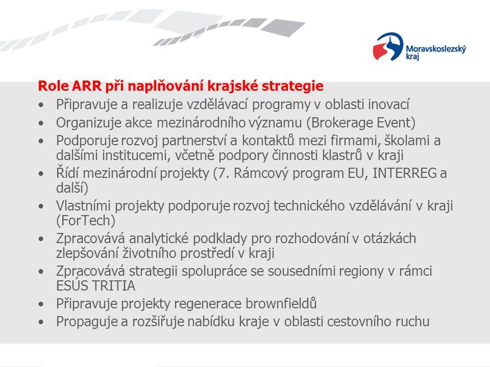 Role ARR při naplňování krajské strategie Připravuje a realizuje vzdělávací programy v oblasti inovací Organizuje akce mezinárodního významu (Brokerage Event) Podporuje rozvoj partnerství a kontaktů mezi firmami, školami a dalšími institucemi, včetně podpory činnosti klastrů v kraji Řídí mezinárodní projekty (7.