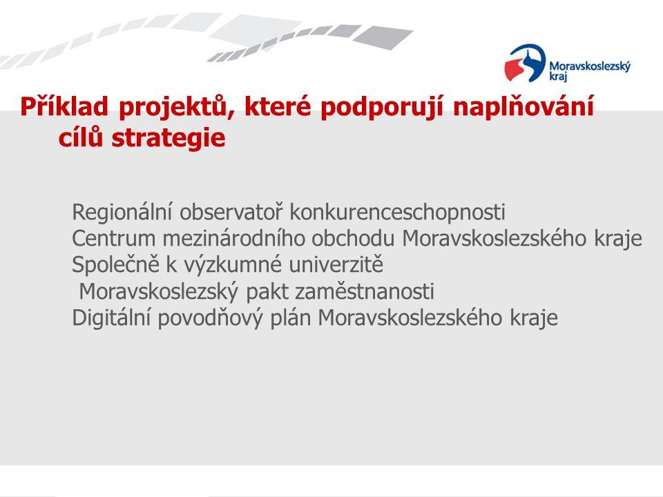 Příklad projektů, které podporují naplňování cílů strategie Regionální observatoř konkurenceschopnosti Centrum mezinárodního obchodu Moravskoslezského kraje Společně k výzkumné univerzitě Moravskoslezský pakt zaměstnanosti Digitální povodňový plán Moravskoslezského kraje