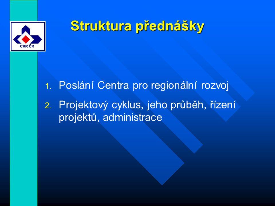 Struktura přednášky 1. Poslání Centra pro regionální rozvoj 2.