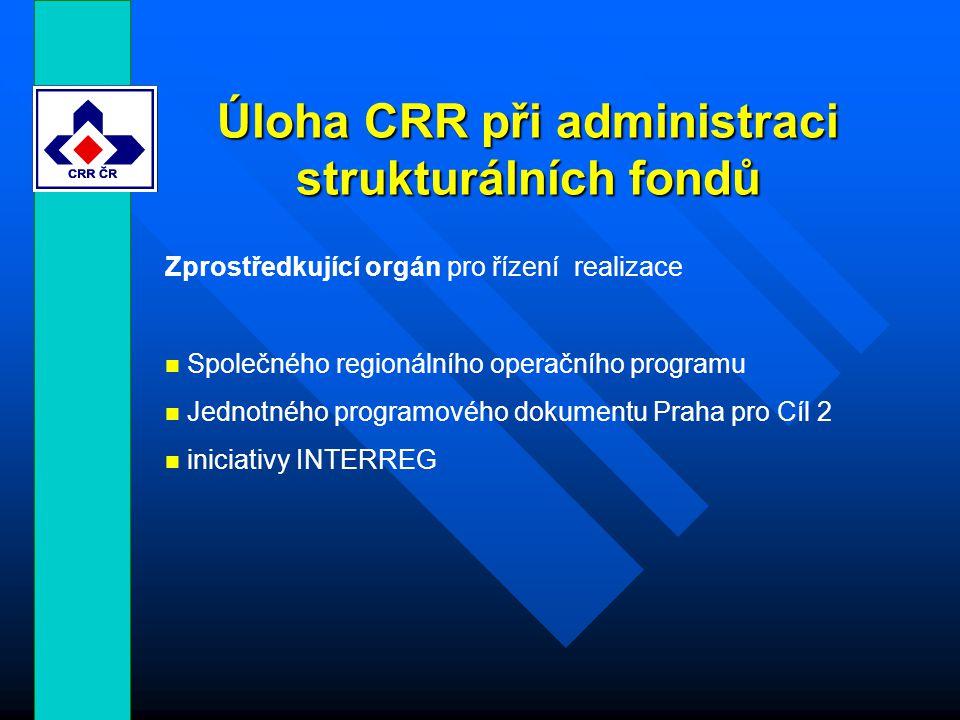 Úloha CRR při administraci strukturálních fondů Zprostředkující orgán pro řízení realizace Společného regionálního operačního programu Jednotného programového dokumentu Praha pro Cíl 2 iniciativy INTERREG