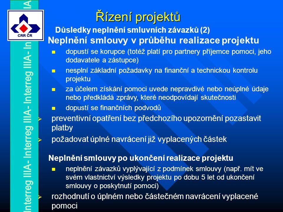 Řízení projektů Důsledky neplnění smluvních závazků (2) Neplnění smlouvy v průběhu realizace projektu dopustí se korupce (totéž platí pro partnery příjemce pomoci, jeho dodavatele a zástupce) nesplní základní požadavky na finanční a technickou kontrolu projektu za účelem získání pomoci uvede nepravdivé nebo neúplné údaje nebo předkládá zprávy, které neodpovídají skutečnosti dopustí se finančních podvodů  preventivní opatření bez předchozího upozornění pozastavit platby  požadovat úplné navrácení již vyplacených částek Neplnění smlouvy po ukončení realizace projektu neplnění závazků vyplývající z podmínek smlouvy (např.