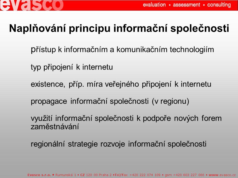 Naplňování principu informační společnosti p řístup k informačním a komunikačním technologiím typ připojení k internetu existence, příp. míra veřejnéh