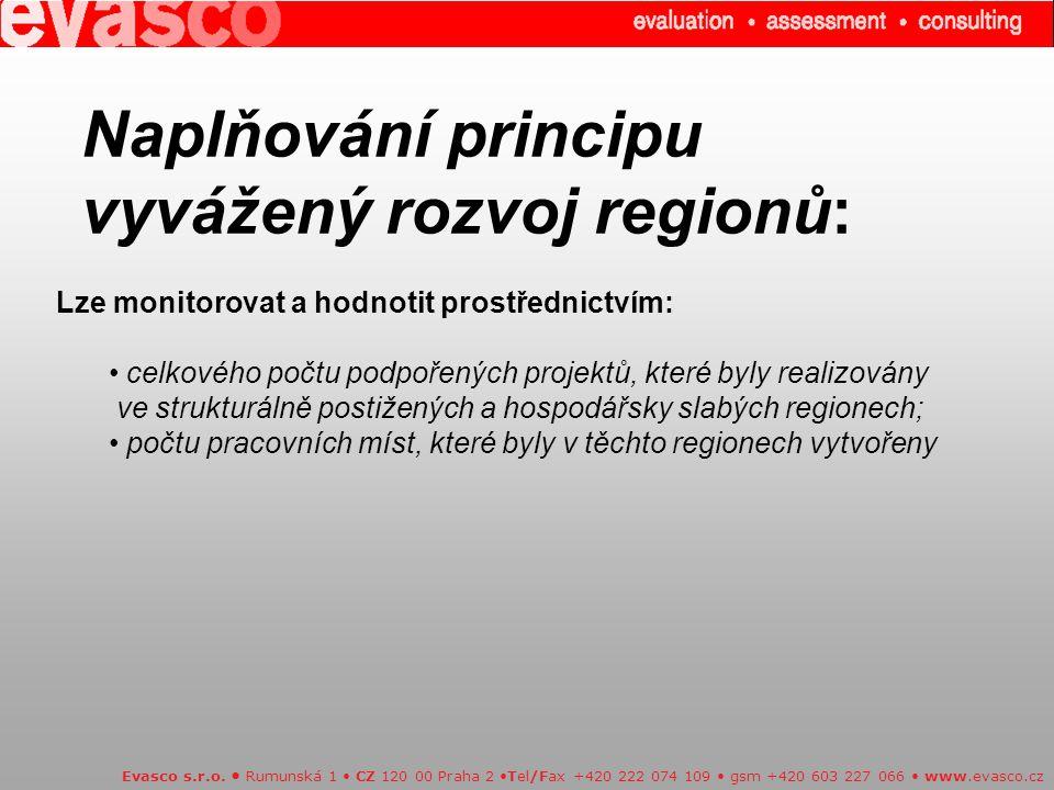 Naplňování principu vyvážený rozvoj regionů: Evasco s.r.o. Rumunská 1 CZ 120 00 Praha 2 Tel/Fax +420 222 074 109 gsm +420 603 227 066 www.evasco.cz Lz