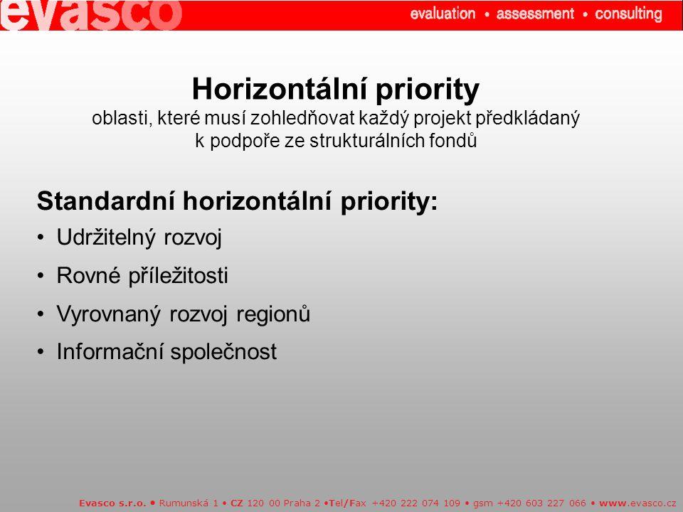 Horizontální priority oblasti, které musí zohledňovat každý projekt předkládaný k podpoře ze strukturálních fondů Evasco s.r.o. Rumunská 1 CZ 120 00 P