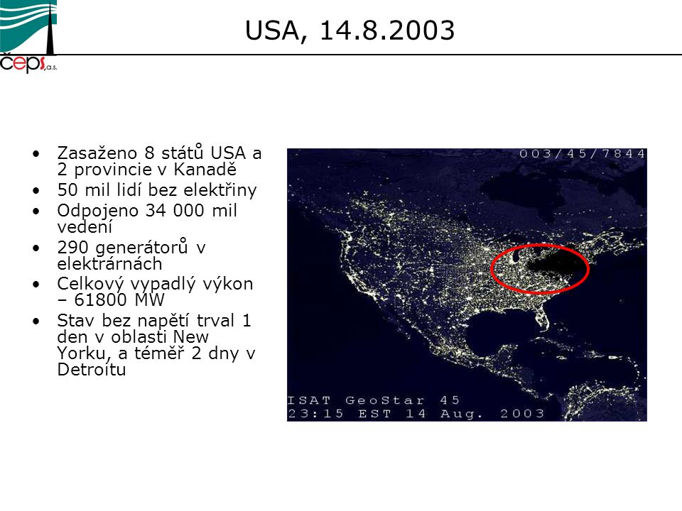 USA, 14.8.2003 Zasaženo 8 států USA a 2 provincie v Kanadě 50 mil lidí bez elektřiny Odpojeno 34 000 mil vedení 290 generátorů v elektrárnách Celkový