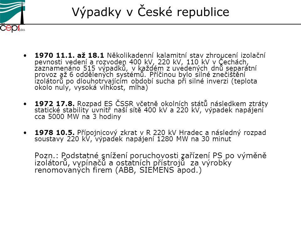 1970 11.1. až 18.1 Několikadenní kalamitní stav zhroucení izolační pevnosti vedení a rozvoden 400 kV, 220 kV, 110 kV v Čechách, zaznamenáno 515 výpadk