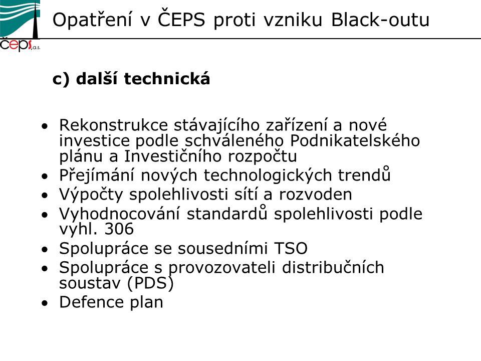 Opatření v ČEPS proti vzniku Black-outu c) další technická Rekonstrukce stávajícího zařízení a nové investice podle schváleného Podnikatelského plánu