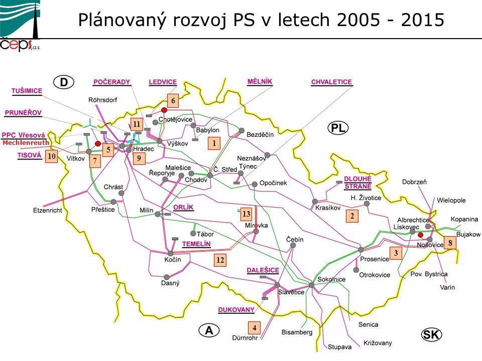 4 Plánovaný rozvoj PS v letech 2005 - 2015 2 Mechlenreuth 10 3 1 12 8 11 9 7 6 5 x 13