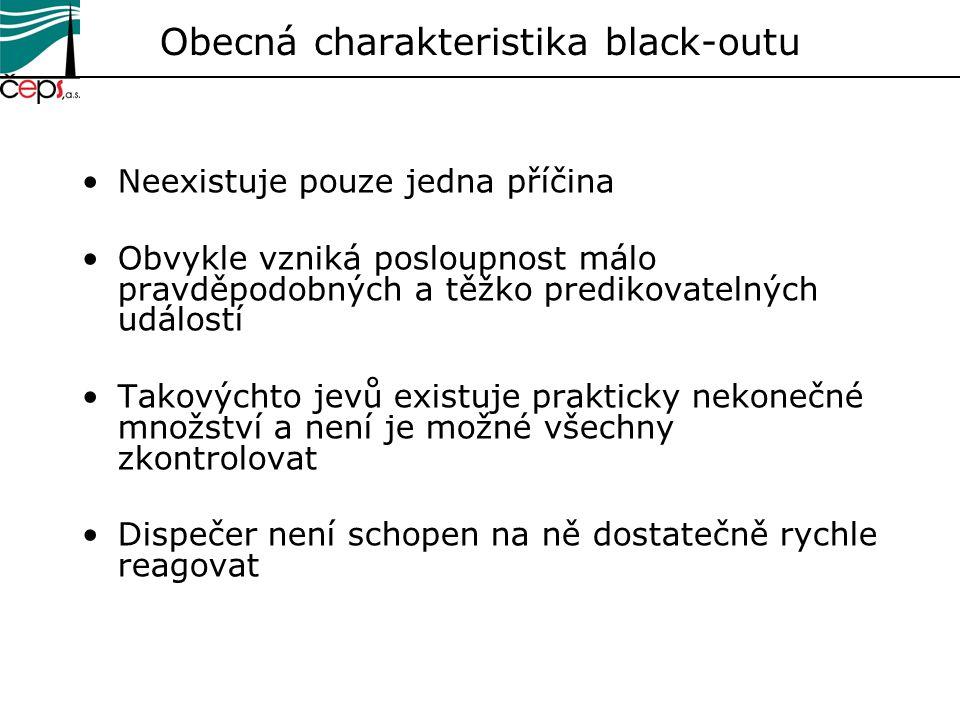 Obecná charakteristika black-outu Neexistuje pouze jedna příčina Obvykle vzniká posloupnost málo pravděpodobných a těžko predikovatelných událostí Tak