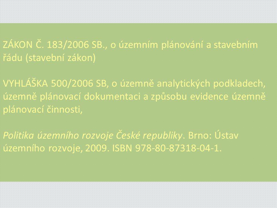 ZÁKON Č. 183/2006 SB., o územním plánování a stavebním řádu (stavební zákon) VYHLÁŠKA 500/2006 SB, o územně analytických podkladech, územně plánovací