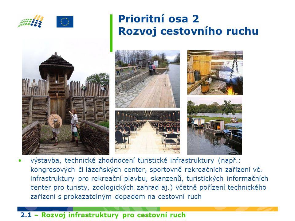 Prioritní osa 2 Rozvoj cestovního ruchu výstavba, technické zhodnocení turistické infrastruktury (např.: kongresových či lázeňských center, sportovně rekreačních zařízení vč.