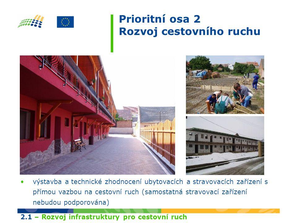 Prioritní osa 2 Rozvoj cestovního ruchu výstavba a technické zhodnocení ubytovacích a stravovacích zařízení s přímou vazbou na cestovní ruch (samostatná stravovací zařízení nebudou podporována) 2.1 – Rozvoj infrastruktury pro cestovní ruch