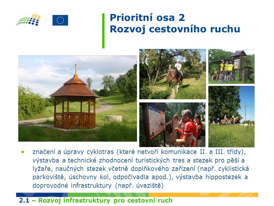 Prioritní osa 2 Rozvoj cestovního ruchu výstavba, úpravy a technické zhodnocení přístupových komunikací k turisticky využitelným objektům a památkám nadregionálního významu (např.