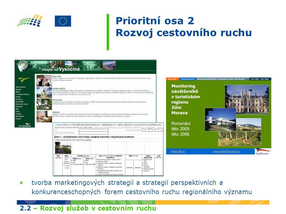 Prioritní osa 2 Rozvoj cestovního ruchu tvorba marketingových strategií a strategií perspektivních a konkurenceschopných forem cestovního ruchu regionálního významu 2.2 – Rozvoj služeb v cestovním ruchu