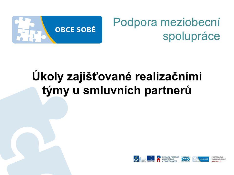 Úkoly zajišťované realizačními týmy u smluvních partnerů Podpora meziobecní spolupráce