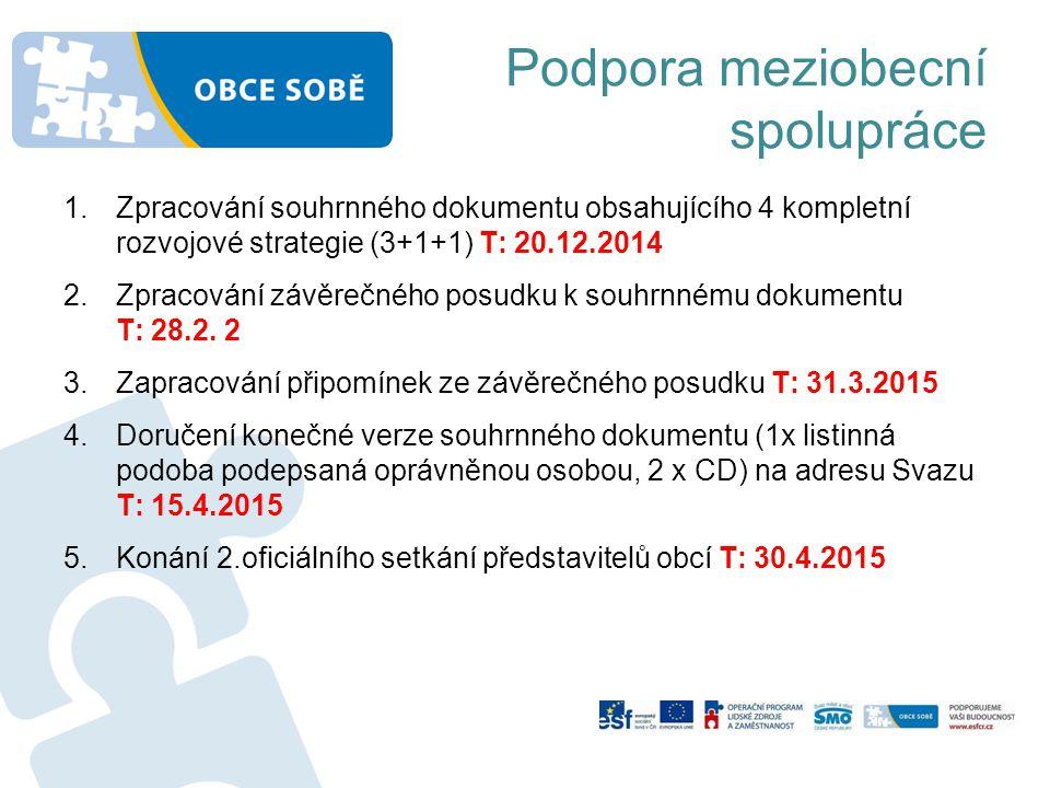 1.Zpracování souhrnného dokumentu obsahujícího 4 kompletní rozvojové strategie (3+1+1) T: 20.12.2014 2.Zpracování závěrečného posudku k souhrnnému dokumentu T: 28.2.